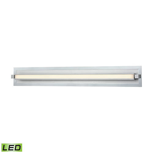 Kiara Frosted Polished Nickel and Satin Aluminum LED Vanity Light