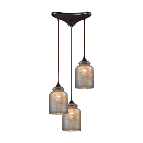 Illuminessence Oil Rubbed Bronze Three-Light 12-Inch Pendant With Dichroic Glass