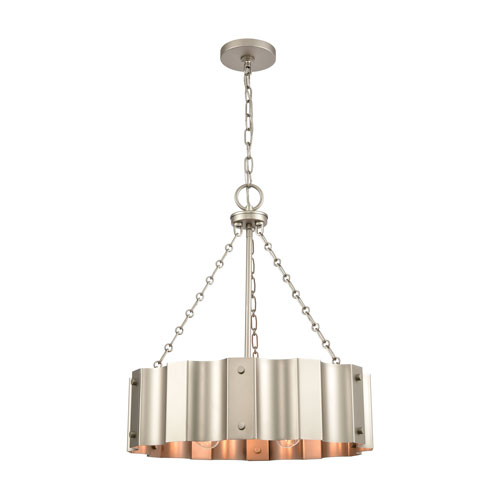 Clausten Matte Nickel Four-Light Chandelier