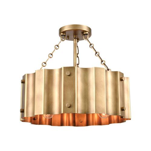 Clausten Natural Brass Three-Light Semi Flush Mount