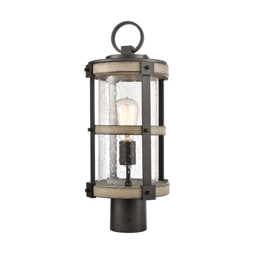 Crenshaw Anvil Iron and Distressed Antique Graywood One-Light Outdoor Post Mount