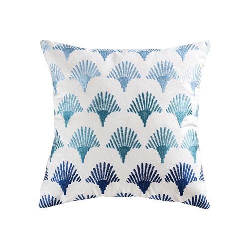 Sanibel Blue, Crema, and Grey Accent Pillow