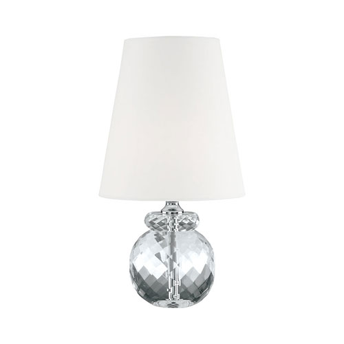 Clear One-Light Table Lamp with White Fabric Shade