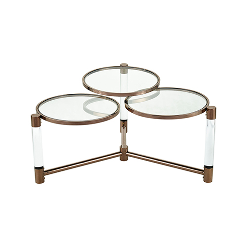 Triple Crown Bronze Plated Stainless Steel Coffee Table