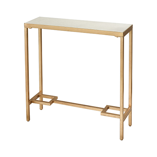 Equus Antique Gold Leaf and White Console Table