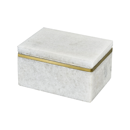 Buenos Aires White Marble and Gold Box