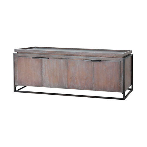 Milford Grey Stain and Antique Brass Console