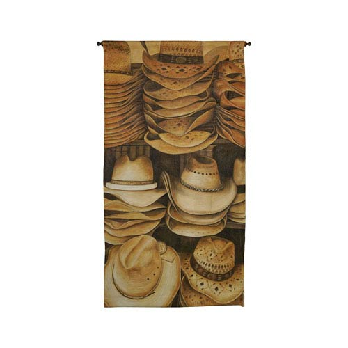 Handpainted Wall Tapestry Heritage Gray Stacked Cowboy Hats Tapestry Wall Art