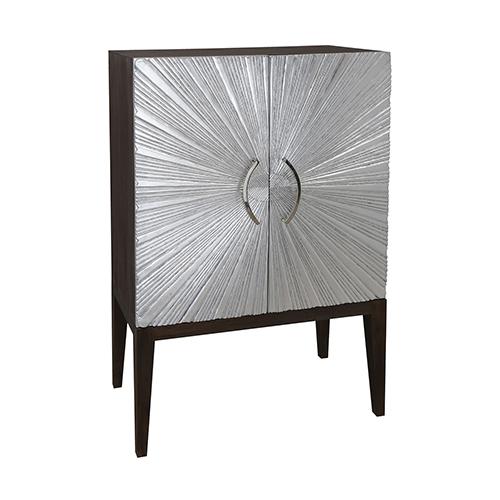 Silver Starburst Silver Leaf 54-Inch Cabinet