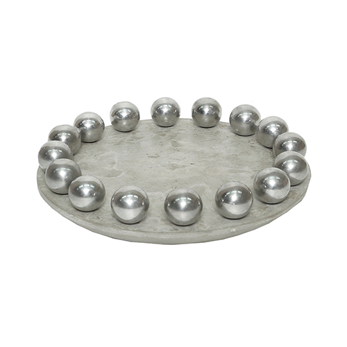 Ball Concrete and Polished Aluminum Bowl