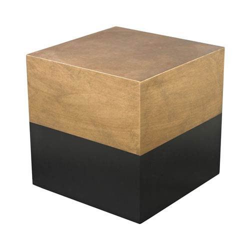 Charmant Dimond Home Draper Antique Gold And Black Cube Accent Table
