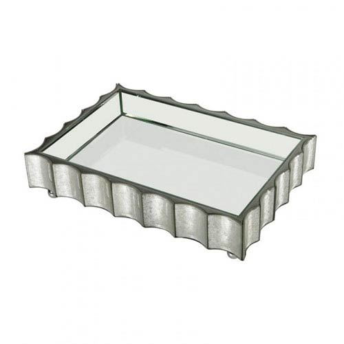 Small Scalloped Edge Mirror Tray