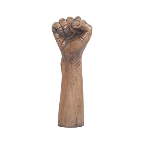 Weathered Mahogany Power Hand Sculpture