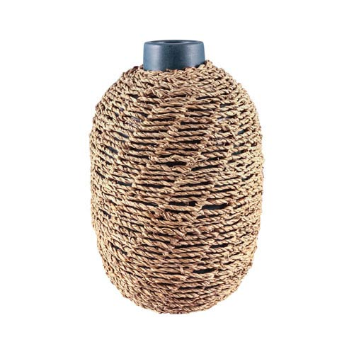 Dimond Home Jaffa Matte Navy and Natural Seagrass Vase - Large