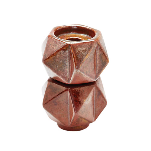 Set of 2 Ceramic Star Russet Candle Holders