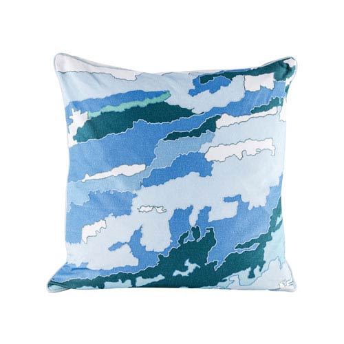 Dimond Home Blue Topography Pillow With Goose Down Insert