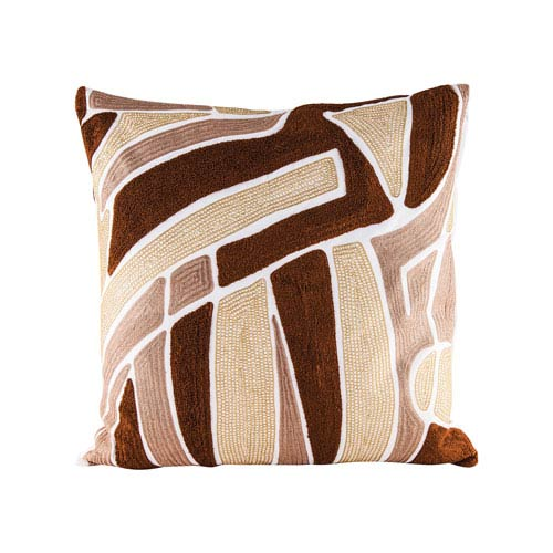 Brown Neutrals Pillow With Goose Down Insert