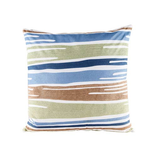 Blue Green Drapes Pillow With Goose Down Insert