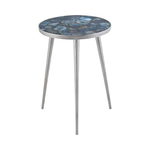 Mykonos Nickel and Blue Side Table