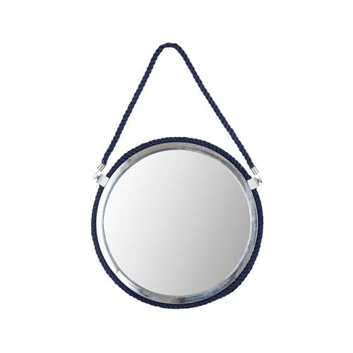 Port Luis Polished Nickel and Navy Wall Mirror