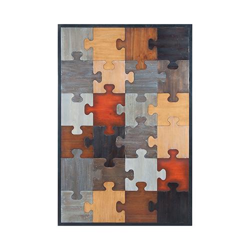 Grain De Bois Noir Puzzled Wall Art