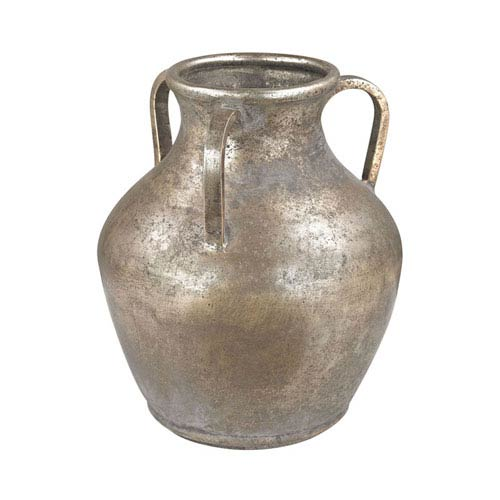 Natured Aged Metal Water Jug Vase