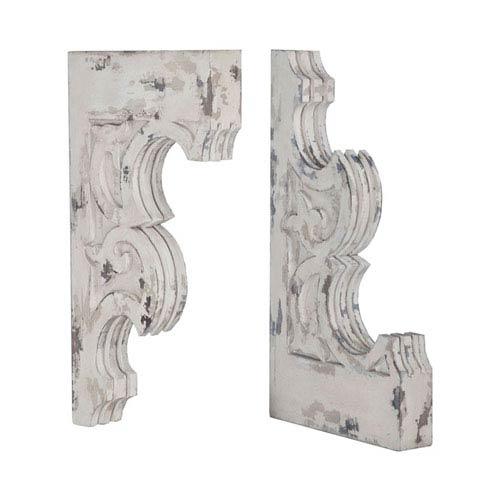 Corbels Vintage Blanc Carved Fleur-De-Lis Corbels - Set of 2
