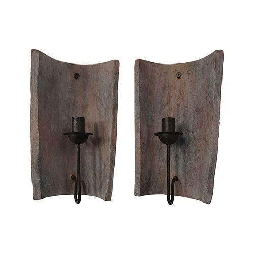 Aged Terra Cotta Tile Candle Sconces