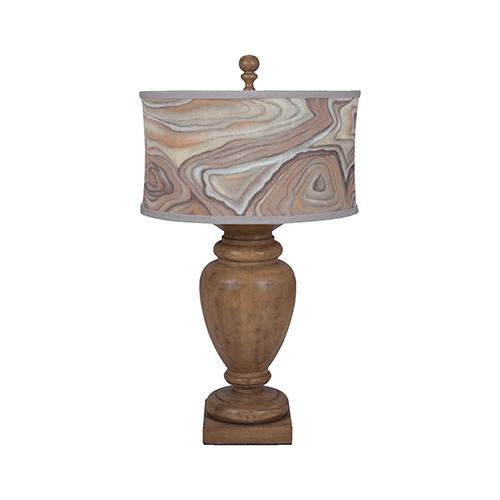 Artisan Dark Stain One-Light Turned Urn Table Lamp