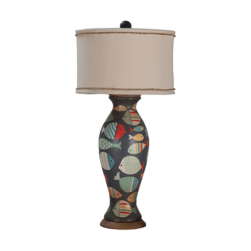 Signature White One-Light Terra Cotta Lamp with Handpainted Fish