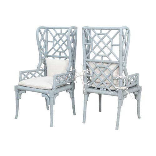 GuildMaster Bamboo Manor Slate Wing Back Chairs - Set of 2