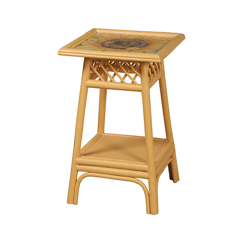 Rattan Yellow Accent Table