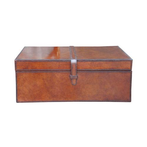 Brown Large Stitched Leather Box