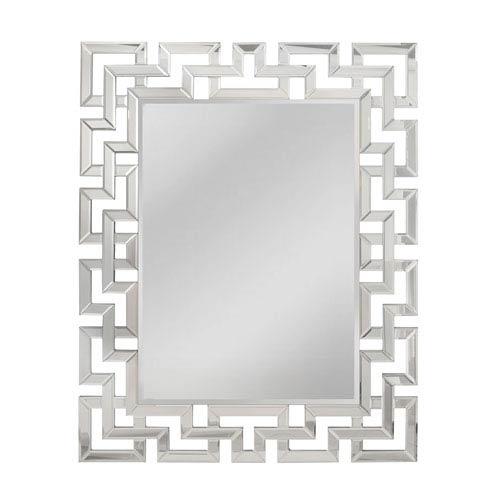 Greek Key Silver Rectangle Mirror