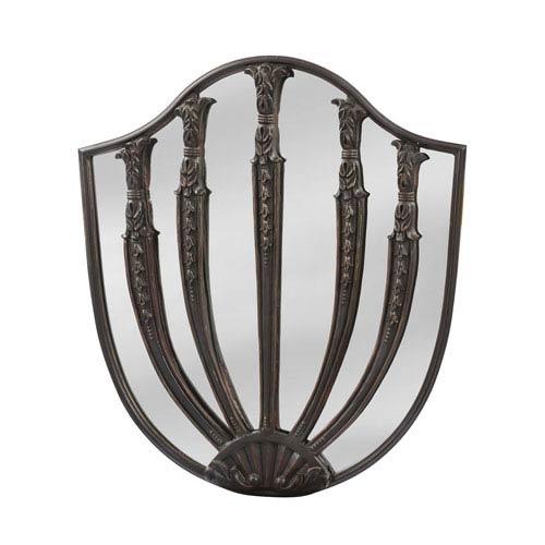 Dovecliff Dark Walnut Roman Shield Arched Mirror