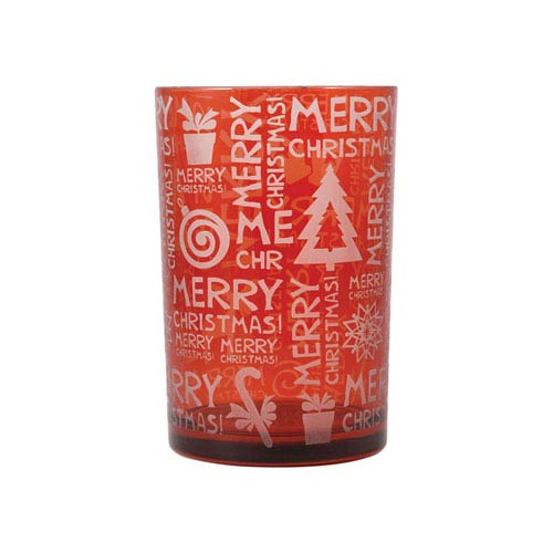 Merry Christmas Frosted Red Candle Holder