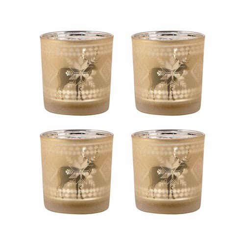 Reindeer Frosted Gold Votive