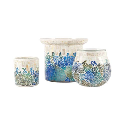 Pomeroy Cool Waters Cool Waters Mosaic Candle Holder