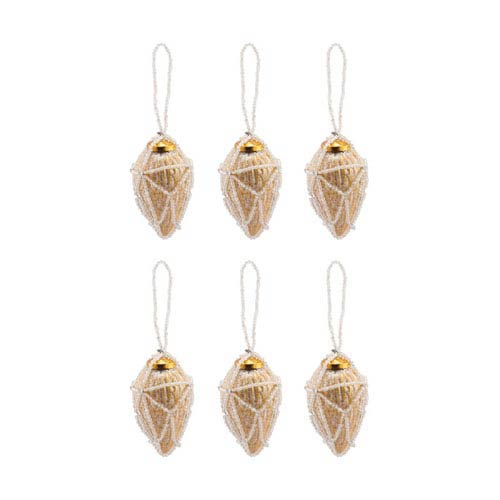 Beaded Gold Conical Ornament