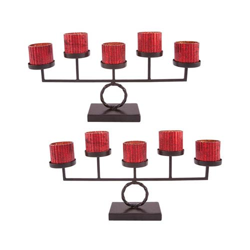 Holiday Anitque Red Five Votive Candle Holder