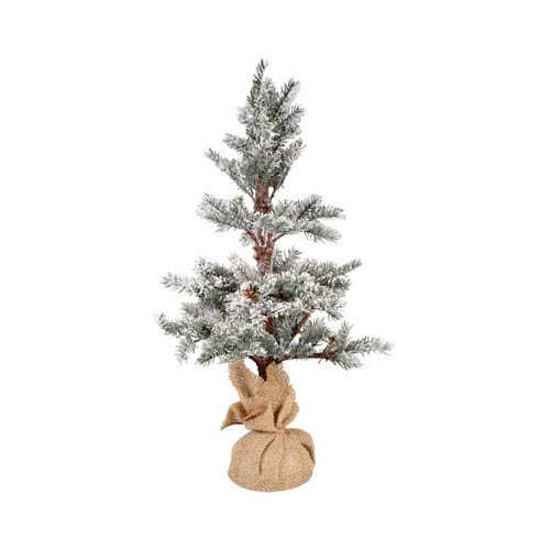 Winters Edge Frosted Evergreen and Burlap Twenty Six-InchTree