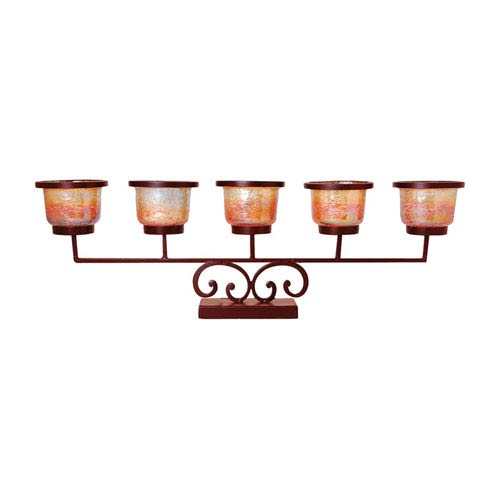 Prairie Montana Rustic Five Votive Candle Holder with Multicolored Glass
