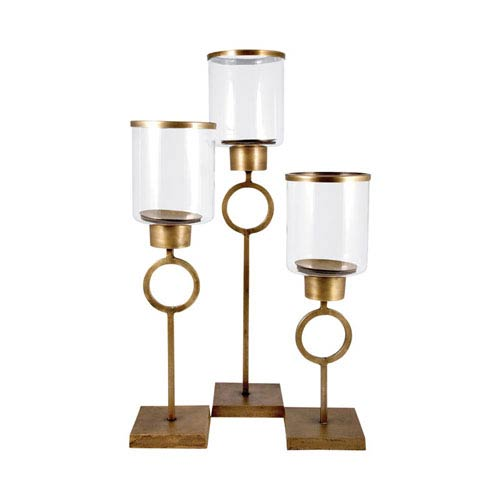 Pomeroy Bangle Antique Brass Twenty Six-Inch Candle Holder