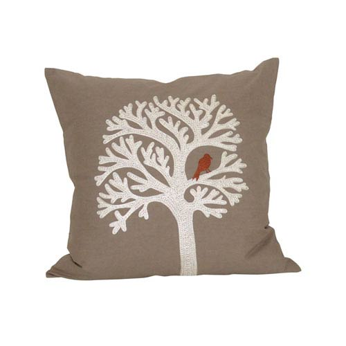 Lockwood Crema and Smoked Pearl Throw Pillow