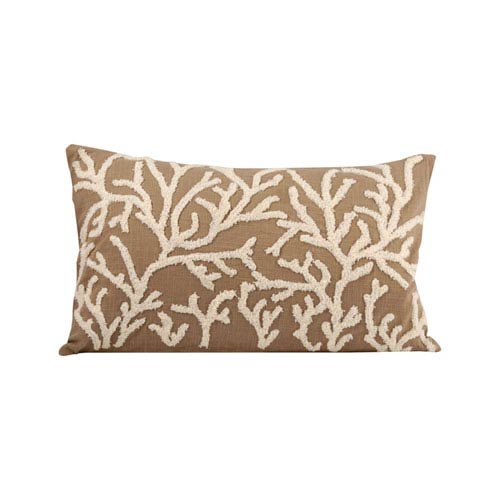 Coralyn Smoked Pearl and Crema Throw Pillow