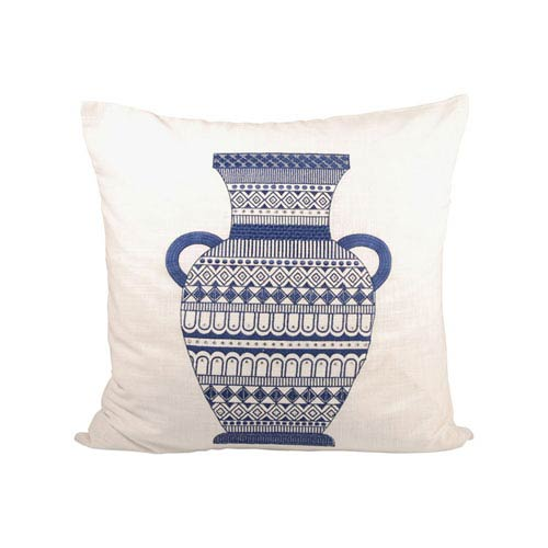 Classique Crema and Indigo Throw Pillow