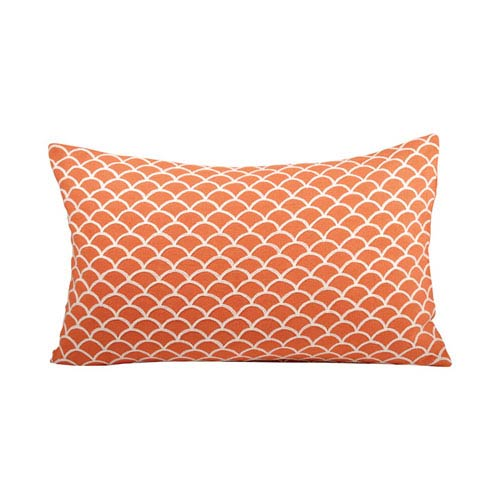 Scallop Coral and White Throw Pillow