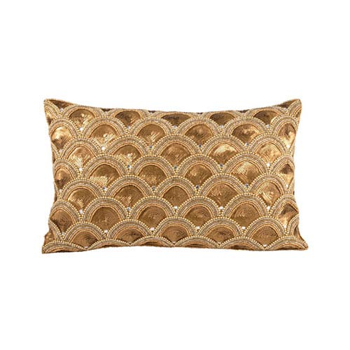 Gilded Scallops Artisan Bronze Throw Pillow
