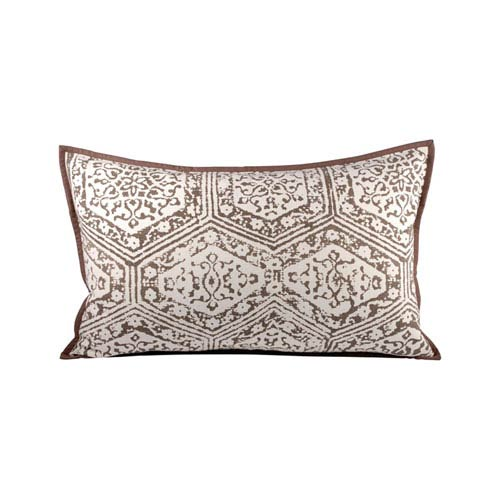 Old World Dark Earth and Crema Throw Pillow