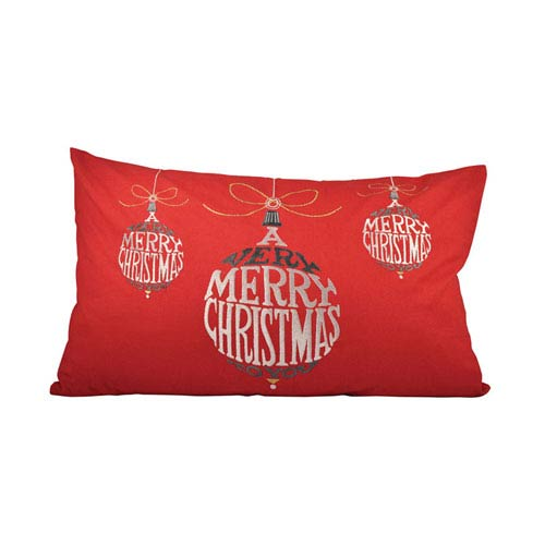 Very Merry Christmas Red Throw Pillow